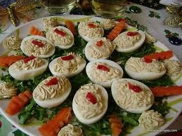 Rica receta para Canasta de huevos rellenos