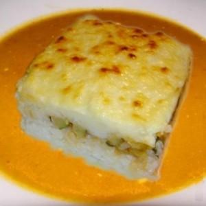 Pastel de arroz y calabacines