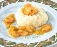 Como hacer GAMBAS al CURRY con arroz blanco